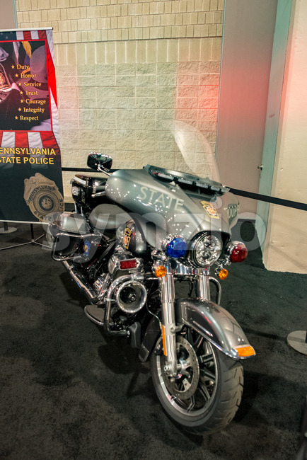 PHILADELPHIA, PA - Feb 3: Pennsylvania State Police motorcycle at the 2018 Philadelphia Auto Show Stock Photo