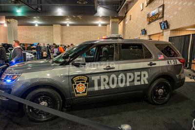 PHILADELPHIA, PA - Feb 3: Pennsylvania State Police vehicle at the 2018 Philadelphia Auto Show Stock Photo