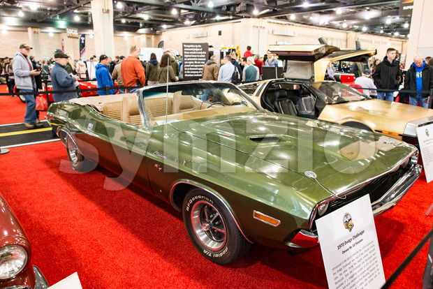 PHILADELPHIA, PA - Feb 3: a 1970 Dodge Challenger at the 2018 Philadelphia Auto Show