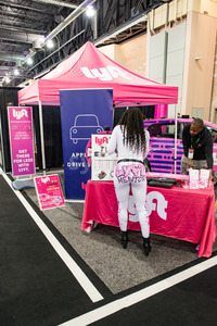 PHILADELPHIA, PA - Feb 3: Lyft ride sharing service mentor at the 2018 Philadelphia Auto Show Stock Photo