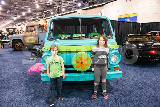 PHILADELPHIA, PA - Feb 3: Scooby Doo Mystery Time Machine Van at the 2018 Philadelphia Auto Show Stock Photo