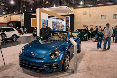 PHILADELPHIA, PA - Feb 3: People enjoying the 2018 Philadelphia Auto Show Stock Photo