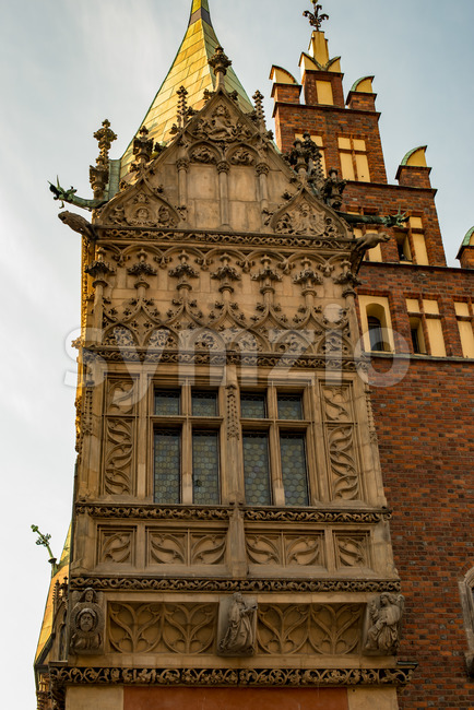 Wroclaw, Poland - March 4, 2018: View of Wroclaw Town Hall details in evening in historic capital of Silesia, Poland, ...