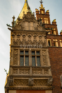 Wroclaw, Poland - March 4, 2018: Wroclaw Town Hall details in evening in historic capital of Silesia, Poland, Europe. Stock Photo