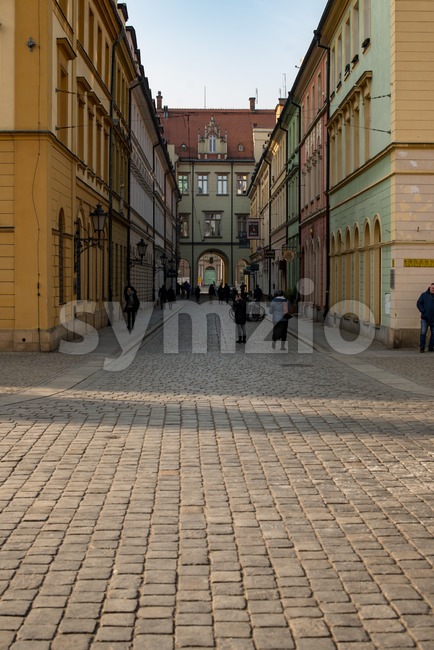 Wroclaw, Poland - March 4, 2018: Wroclaw Market Square in evening in historic capital of Silesia, Poland, Europe. Stock Photo
