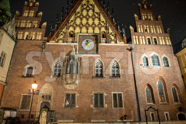Wroclaw, Poland - March 6, 2018: View of Wroclaw Town Hall at night in historic capital of Silesia, Poland, Europe.