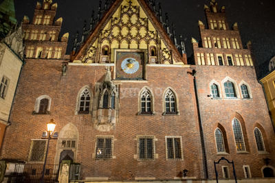 Wroclaw, Poland - March 6, 2018: Wroclaw Town Hall at night in historic capital of Silesia, Poland, Europe. Stock Photo