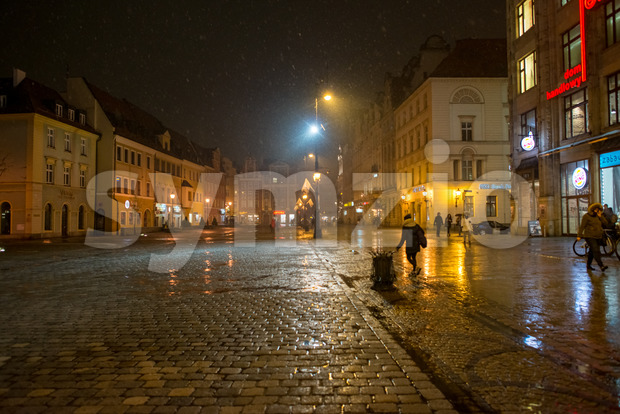 Wroclaw, Poland - March 6, 2018: Wroclaw Market Square at night in historic capital of Silesia, Poland, Europe. Stock Photo