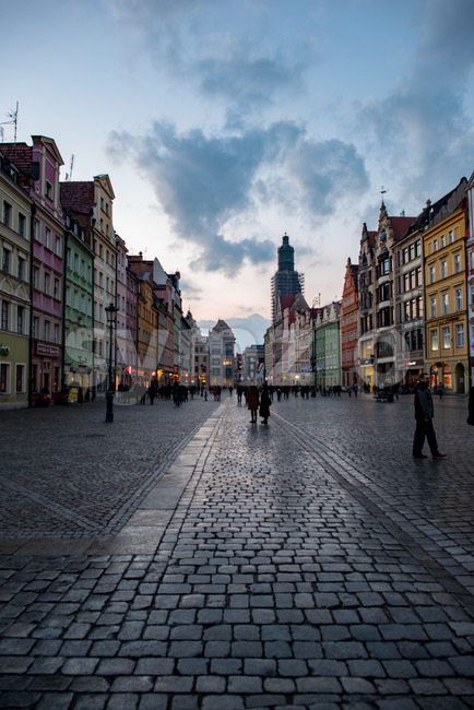 Wroclaw, Poland - March 8, 2018: Wroclaw Market Square in evening after rain storm in historic capital of Silesia, Poland, Europe. Stock Photo