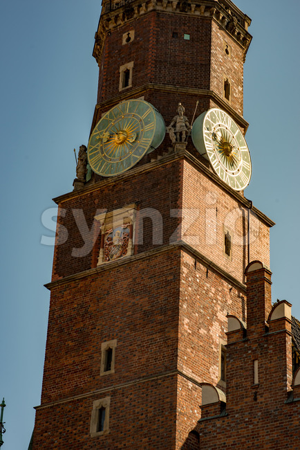 Wroclaw, Poland - March 9, 2018: View of Wroclaw Town Hall clock tower in morning in historic capital of Silesia, ...