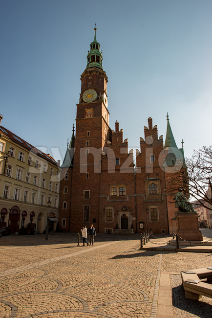 Wroclaw, Poland - March 9, 2018: Wroclaw Town Hall clock tower in morning in historic capital of Silesia, Poland, Europe. Stock Photo