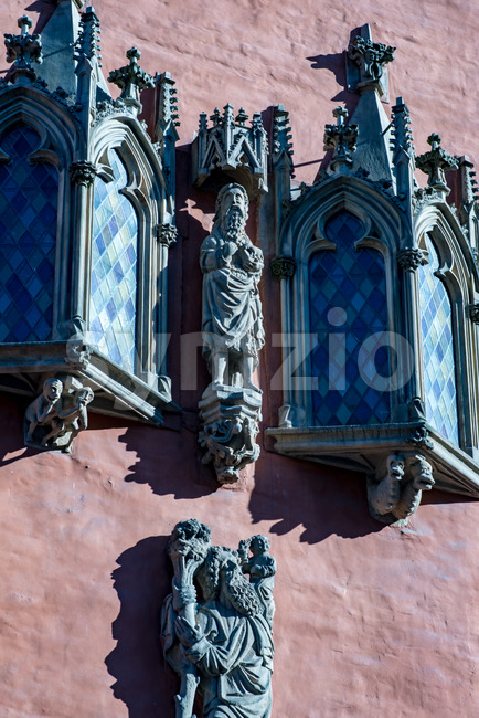 Wroclaw, Poland - March 9, 2018: View of Wroclaw Town Hall details in morning in historic capital of Silesia, Poland, ...