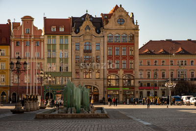 Wroclaw, Poland - March 9, 2018: Wroclaw Market Square in morning in historic capital of Silesia, Poland, Europe. Stock Photo