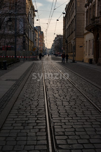 Wroclaw, Poland - March 4, 2018: Wroclaw Old Town historic area in the evening. Stock Photo
