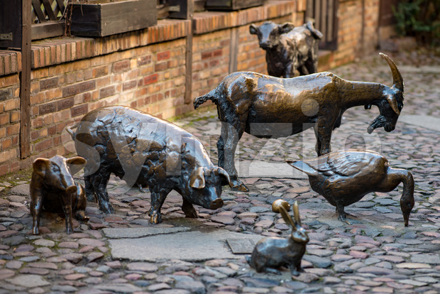 Wroclaw, Poland - March 9, 2018: Massacre of Wroclaw, bronze statue of the slaughter animals in the place of a medieval butcher Stock Photo