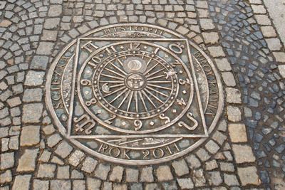 Wroclaw, Poland - March 9, 2018: One of the metal plaques on Wroclaw's Sidewalk Timeline commemorating influential dates Stock Photo
