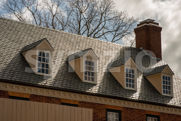 Williamsburg, Virginia - March 26, 2018: View of Historic houses and buildings in Williamsburg Virginia