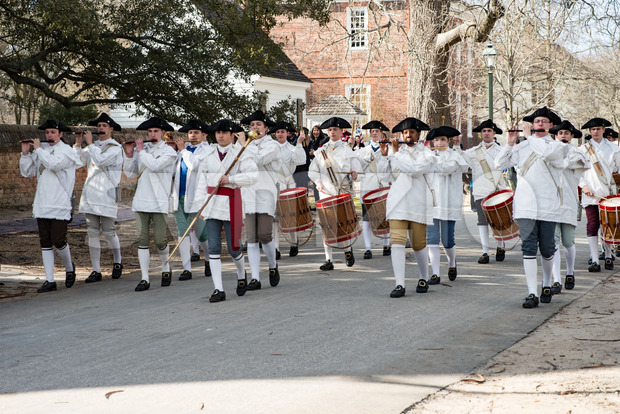Williamsburg, Virgina - March 26, 2018: View of Reenactment marching band Fife and drum at Colonial WIlliamsburg.