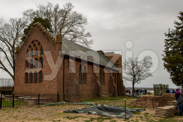Jamestown, Virginia - March 27, 2018: View of Jamestown Memorial Church which was constructed in 1906