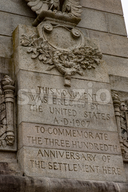 Jamestown, Virginia - March 27, 2018: Tercentenary Monument in Historic Jamestown, VA Stock Photo