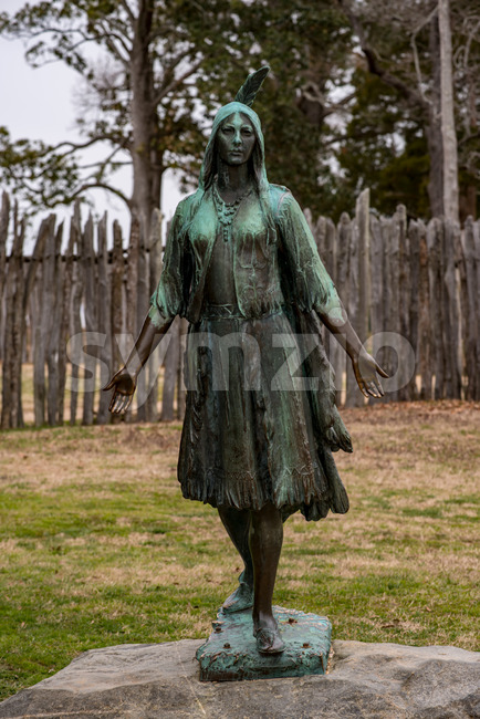 Jamestown, Virginia - March 27, 2018: View of Pocahontas Statue, by William Ordway Partridge, erected in 1922, representing Pocahontas