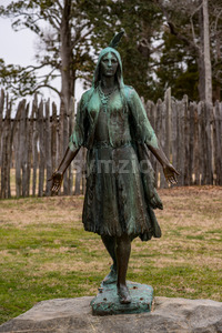 Jamestown, Virginia - March 27, 2018: Pocahontas Statue, by William Ordway Partridge, erected in 1922, representing Pocahontas Stock Photo