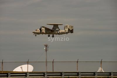 Wallops Island, Virginia - March 28, 2018: Navy Hawkeye Airplane at NASA Wallops center Stock Photo