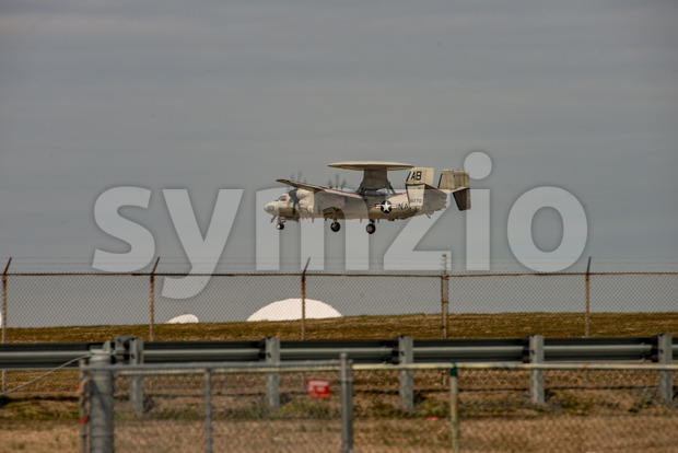 Wallops Island, Virginia - March 28, 2018: Navy Hawkeye Airplane at NASA Wallops center Stock Photo