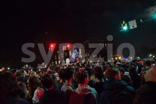 Villanova, Pennsylvania, USA. 2nd Apr, 2018. Students and fans celebrate Villanova University Men's Basketball team winning the NCAA championship Stock Photo