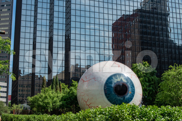 Dallas, Texas - May 7, 2018: The Eye is a statue in downtown Dallas, Texas located at the Joule Hotel. Stock Photo