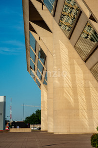 Dallas, Texas - May 7, 2018: Dallas City Hall, designed by renouned architect I. M. Pei, was used for the Robocop movies Stock Photo