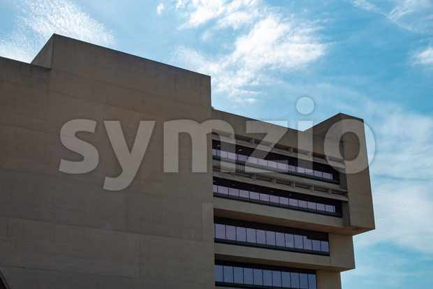 Dallas, Texas - May 7, 2018: View of Dallas City Hall, designed by renouned architect I. M. Pei, was used ...