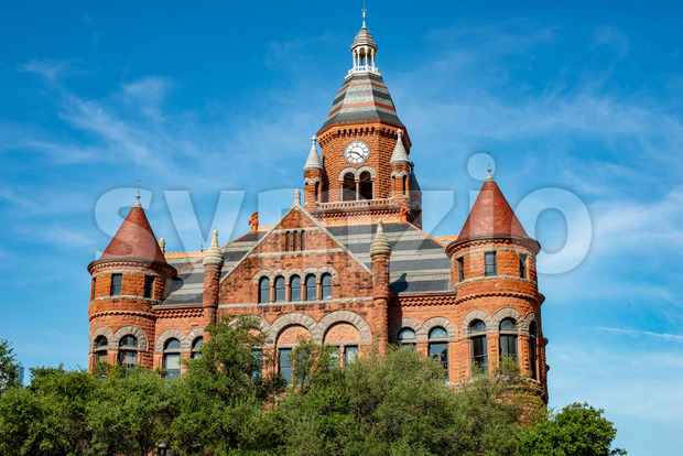 Dallas, Texas - May 7, 2018: View of Old Red Museum, formerly Dallas County Courthouse in Dallas, Texas