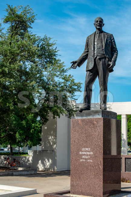 Dallas, Texas - May 7, 2018: View of George Bannerman Dealey Monument in Dealey Plaza, Dallas, Texas