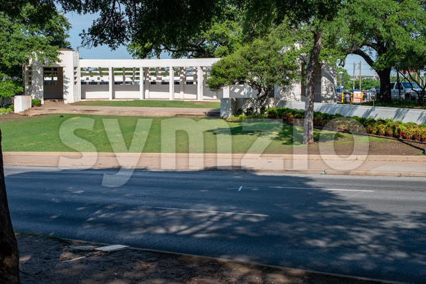 Dallas, Texas - May 7, 2018: The Dealy Plaza and its surrounding buildings in Downtown Dallas the location of the John F Kennedy assassination Stock Photo