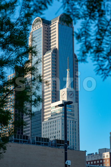 Dallas, Texas - May 7, 2018: View of The Comerica Bank Tower located on Ervay street