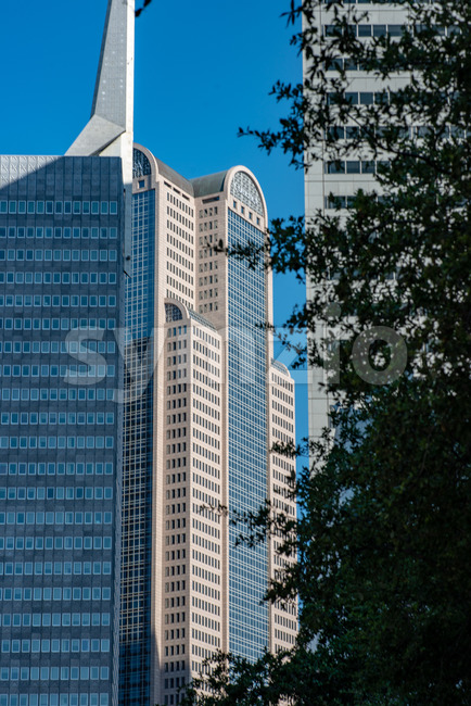 Dallas, Texas - May 7, 2018: The Comerica Bank Tower located on Ervay street Stock Photo