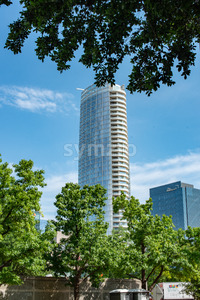 Dallas, Texas - May 7, 2018: The Museum Tower in Dallas, Texas against blue sky Stock Photo