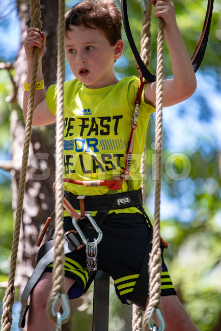 Portrait of a handsome boy on a rope park among trees. Children summer activities. Stock Photo