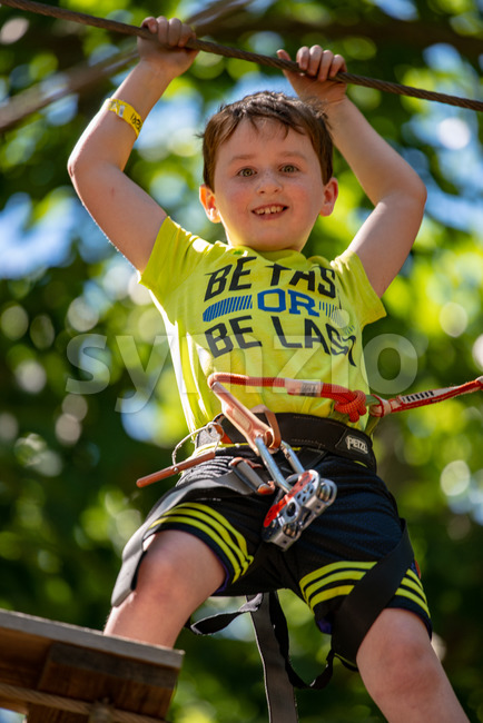 View of Portrait of a handsome boy on a rope park among trees. Children summer activities.