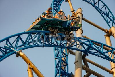 Ocean City, NJ - June 11, 2018: New GaleForce Roller Coaster on Playland Castaway Cove pier in Ocean City Stock Photo