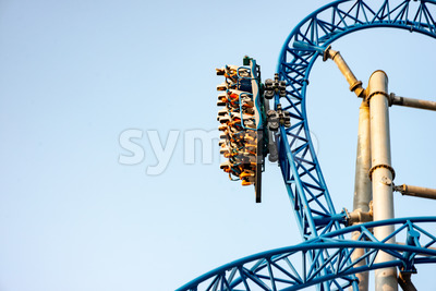 Ocean City, NJ - June 11, 2018: New GaleForce Roller Coaster on Playland Castaway Cove pier in Ocean City Stock Photo