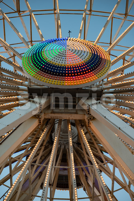 View of Ferris Wheel on Gillian's Wonderland Pier in Ocean City, NJ at evening time