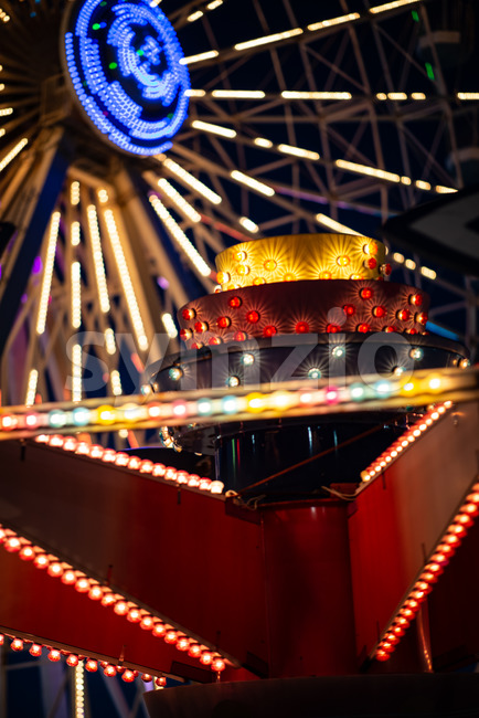 View of Ferris Wheel on Gillian's Wonderland Pier in Ocean City, NJ at evening time