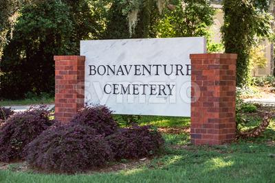 Monument sign at entrance to Bonaventure Cemetery Savannah Georgia Stock Photo