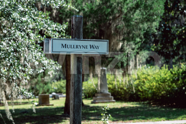 Sign for Mullryne Way in Bonaventure Cemetery Savannah Georgia Stock Photo
