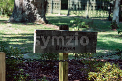 Sign for Colonial Monument Garden in Bonaventure Cemetery Savannah Georgia Stock Photo