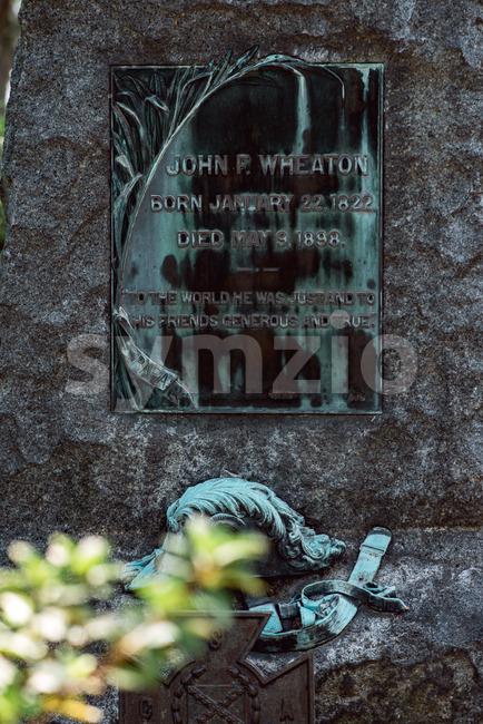View of John Wheaton Cemetery Statuary Statue Bonaventure Cemetery Savannah Georgia