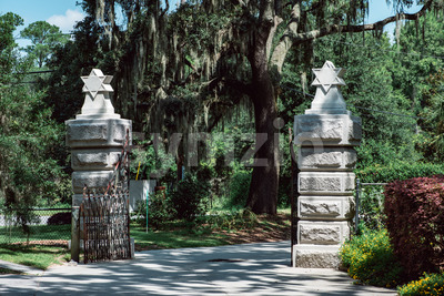 Jewish entrance Cemetery Statuary Statue Bonaventure Cemetery Savannah Georgia Stock Photo