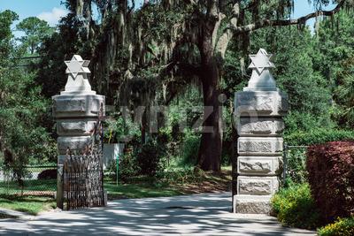 Jewish entrance Cemetery Statuary Statue Bonaventure Cemetery Savannah Georgia Stock Photo
